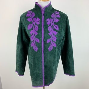 Linea Green Suede Jacket with Floral Print Small